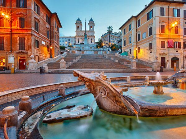 Rome City centre Piazza di Spagna, barcaccia Fountain and Spanish Steps
