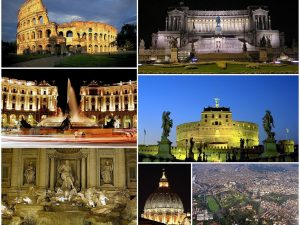 Photo collage of rome colosseum Vatican Trevi Fountain and other monuments