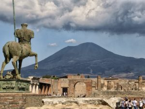 Pompeii riuns with vesuvius view