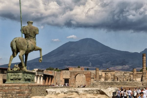 Pompeii ruins with vesuvius view. Pompeii and sorrento one day from tour