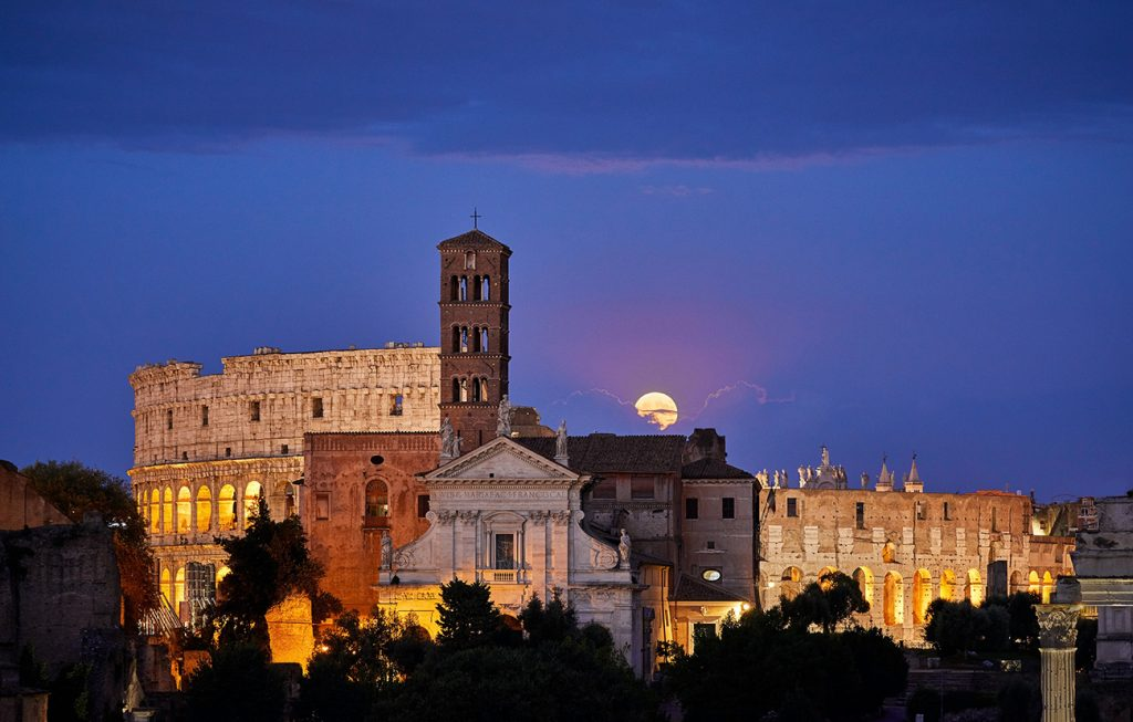 Colosseum and Roman forum by night