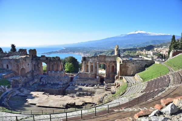 Sicily beach and culture Taarmina Sicily panorama from Roman Theatre