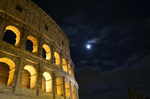 Essential Italy Escorted tour Colosseum at moonlight Panorama